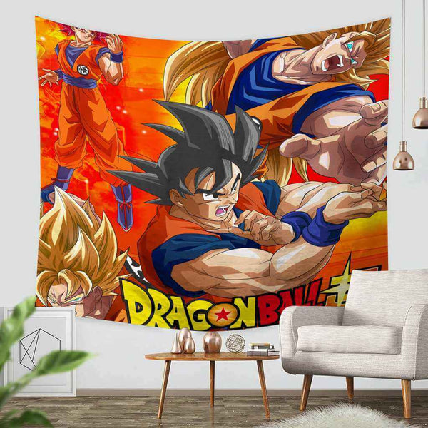 3D Custom Dragon Ball Super Tapestry Throw Wall Hanging Bedspread - Three Lemons Hometextile
