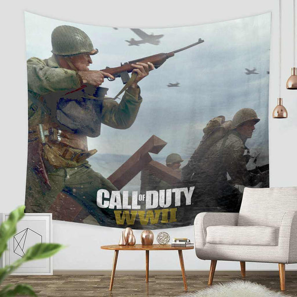 3D Custom Call of Duty WWⅡ Tapestry Throw Wall Hanging Bedspread - Three Lemons Hometextile