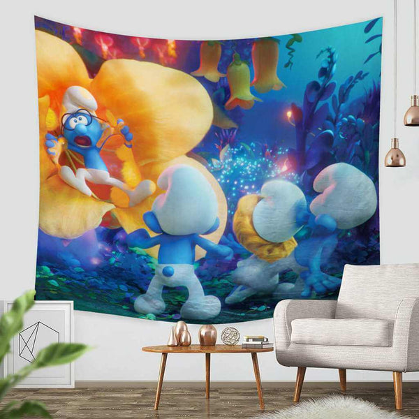 3D Custom Smurfs The Lost Village Tapestry Throw Wall Hanging Bedspread - Three Lemons Hometextile