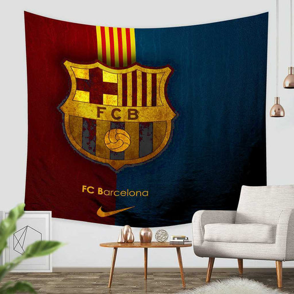 3D Custom FC Barcelona Tapestry Throw Wall Hanging Bedspread - Three Lemons Hometextile