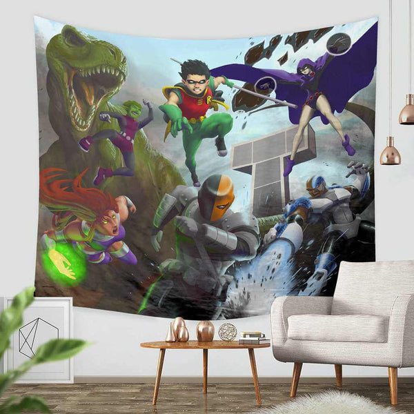 3D Custom Teen Titans Tapestry Throw Wall Hanging Bedspread - Three Lemons Hometextile