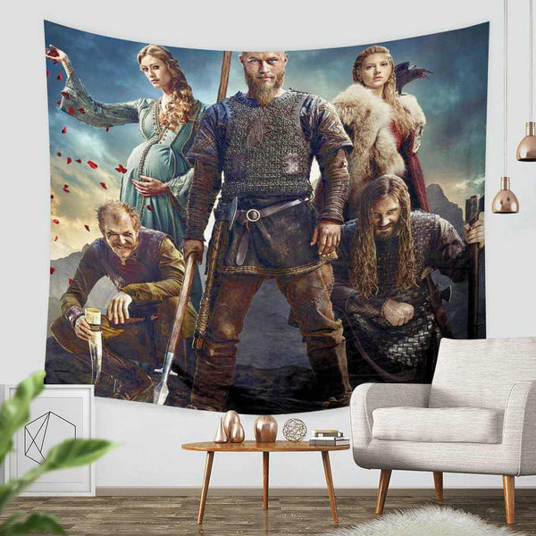 3D Custom Vikings Tapestry Throw Wall Hanging Bedspread - Three Lemons Hometextile