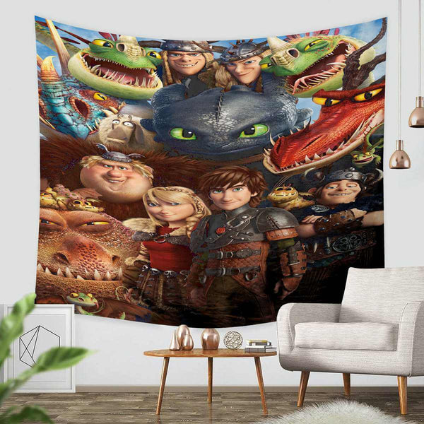 3D Custom How to Train Your Dragon Tapestry Throw Wall Hanging Bedspread - Three Lemons Hometextile
