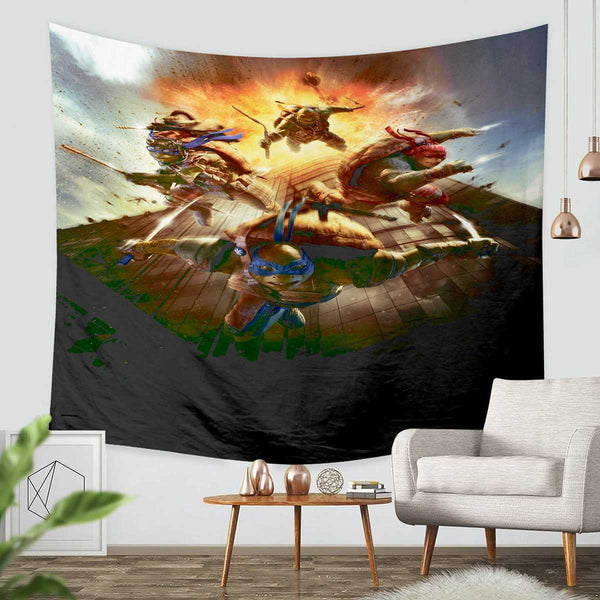 3D Custom Ninja Turtles Tapestry Throw Wall Hanging Bedspread - Three Lemons Hometextile