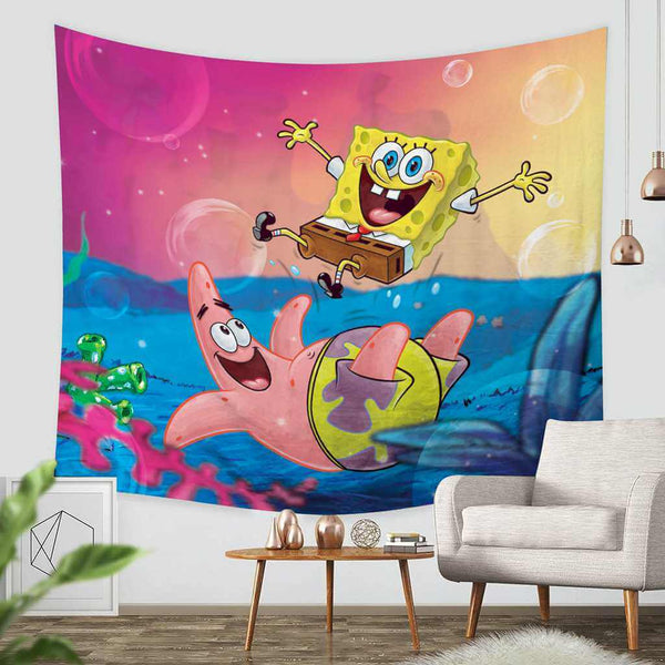 3D Custom SpongeBob SquarePants Tapestry Throw Wall Hanging Bedspread - Three Lemons Hometextile