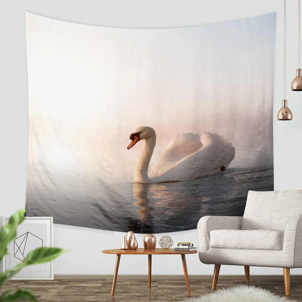 3D Custom Swan Tapestry Throw Wall Hanging Bedspread - Three Lemons Hometextile