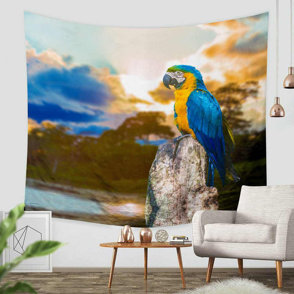 3D Custom Parrot Tapestry Throw Wall Hanging Bedspread - Three Lemons Hometextile