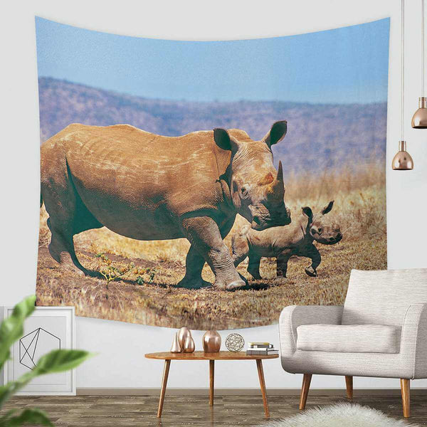 3D Custom Rhinoceros Tapestry Throw Wall Hanging Bedspread - Three Lemons Hometextile