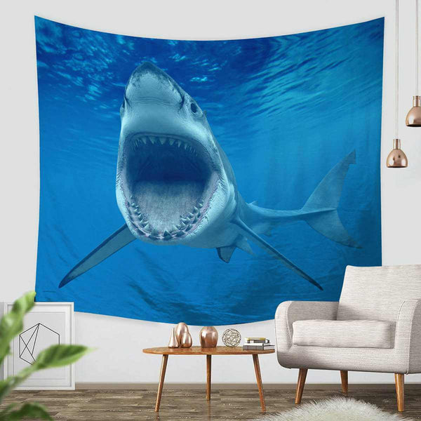 3D Custom Shark Tapestry Throw Wall Hanging Bedspread - Three Lemons Hometextile
