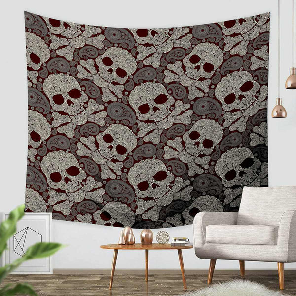 3D Custom Skull Tapestry Throw Wall Hanging Bedspread - Three Lemons Hometextile