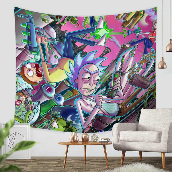 3D Custom Rick and Morty Tapestry Throw Wall Hanging Bedspread - Three Lemons Hometextile