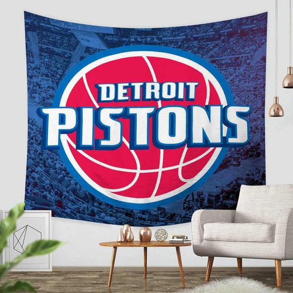 3D Custom Detroit Pistons Tapestry Throw Wall Hanging Bedspread - Three Lemons Hometextile