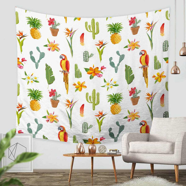 3D Custom Parrots Tapestry Throw Wall Hanging Bedspread - Three Lemons Hometextile