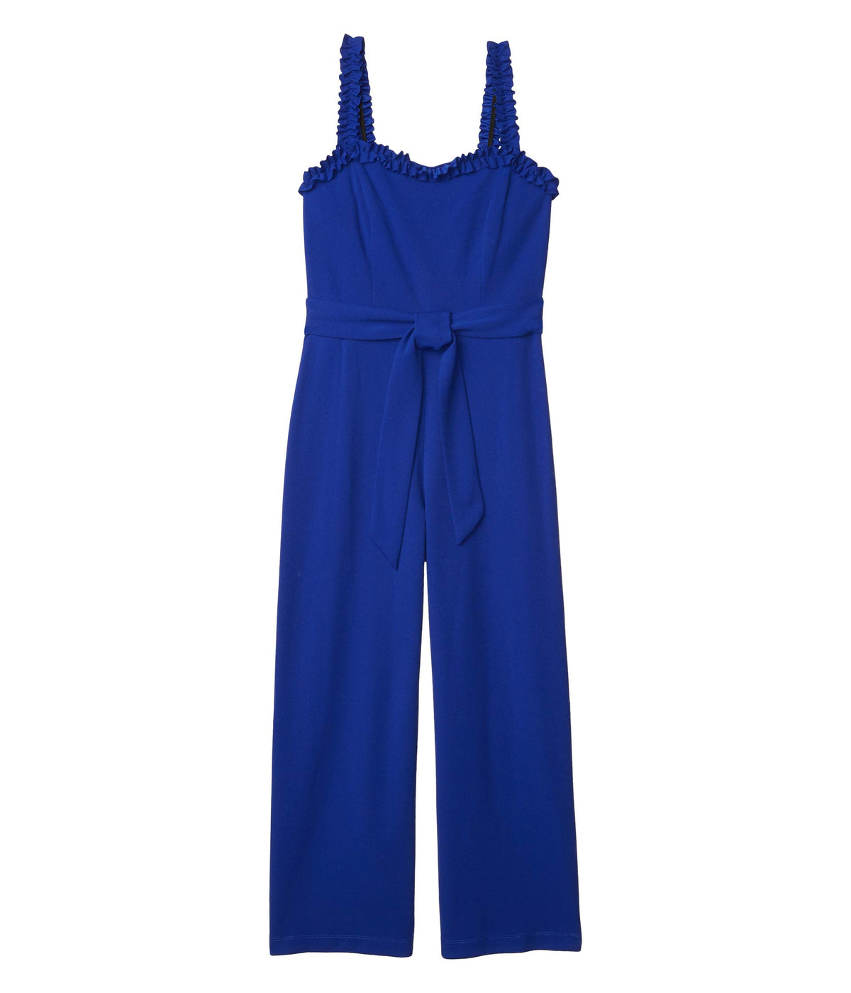 Cropped Jumpsuit with Ruffle Strap Detail