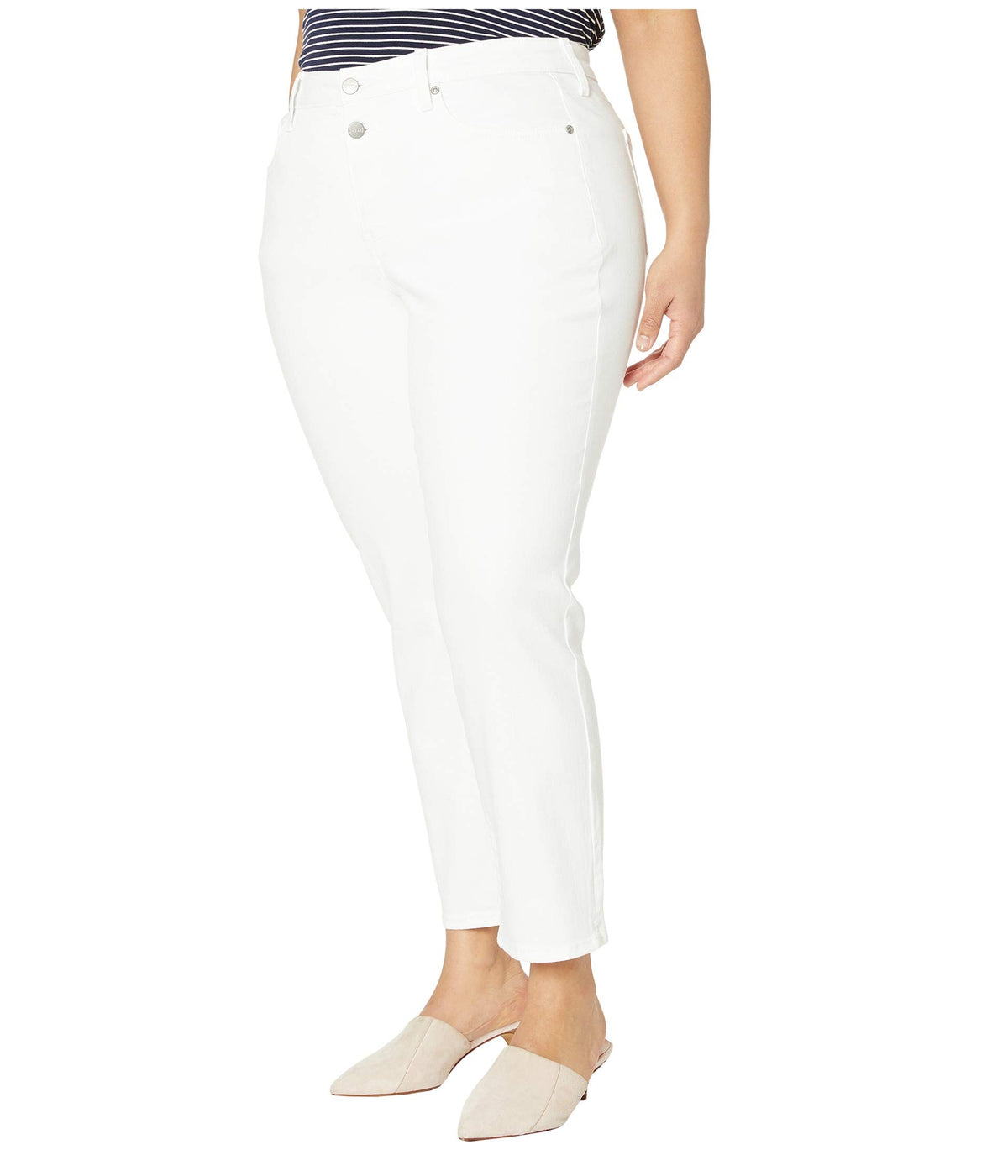 Plus Size Sheri Ankle Jeans with Mock Fly in Optic White