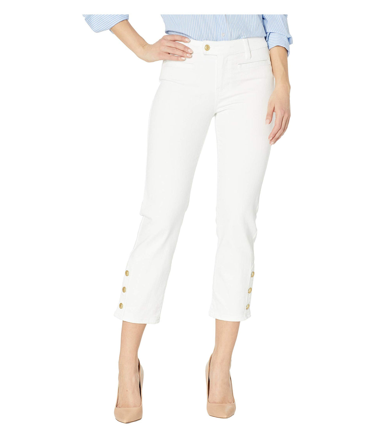 Abby Crop Skinny Button Placket Hem Jeans in Bright White