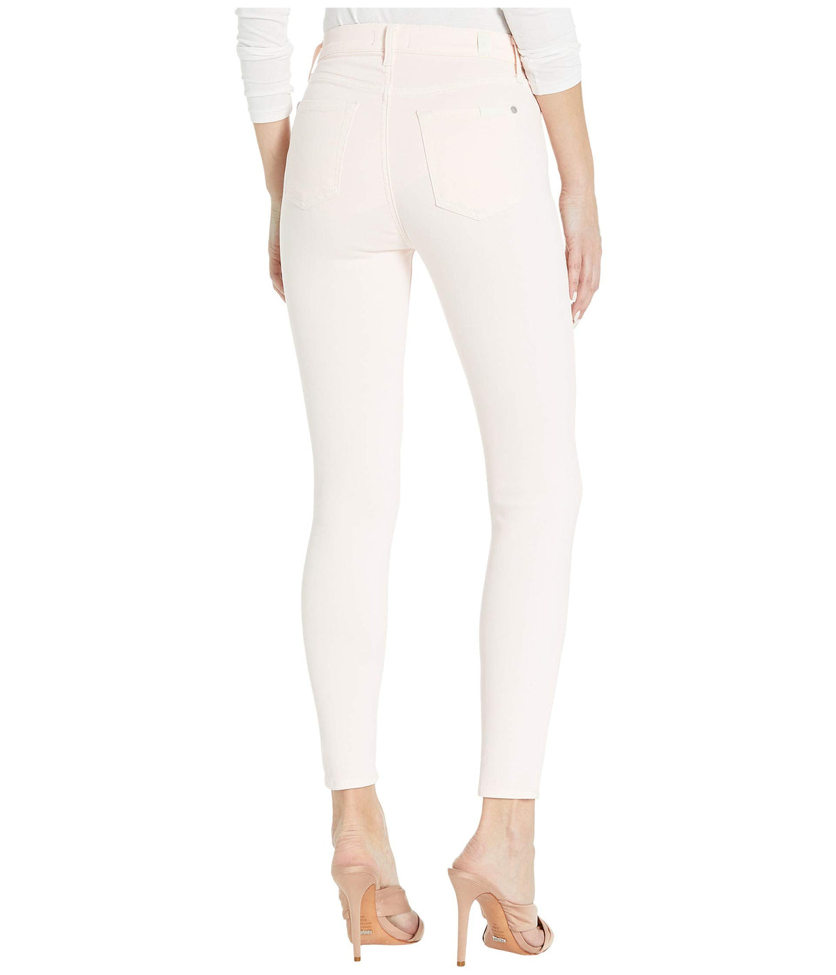 High-Waist Ankle Skinny in Solid Pink