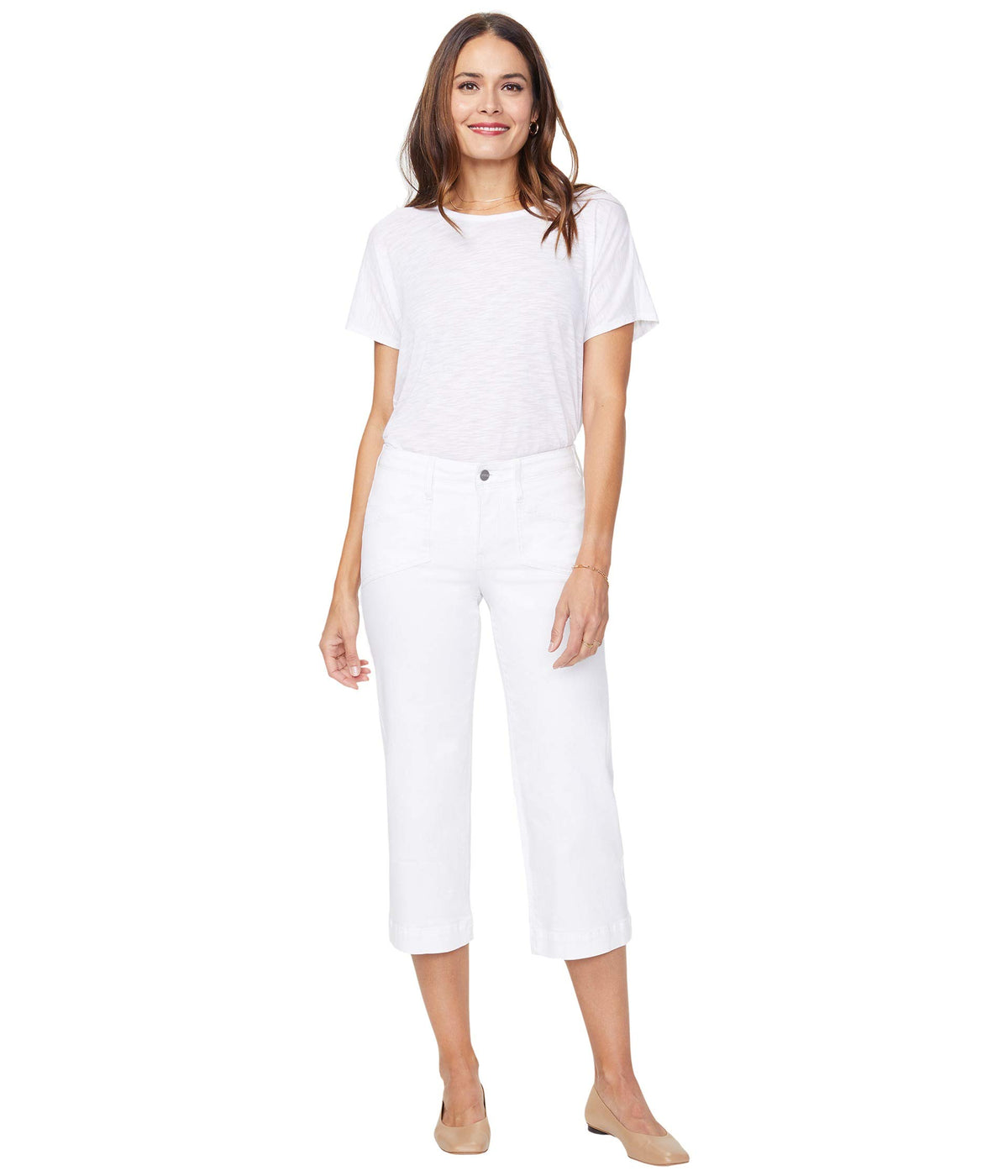 Wide Leg Capri Jeans with Utility Pockets in Optic White