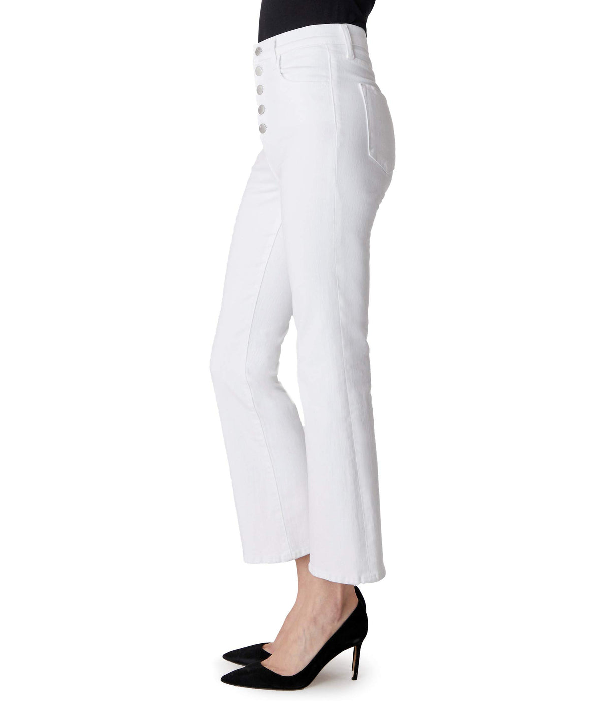 Lillie High-Rise Crop Flare in Blanc
