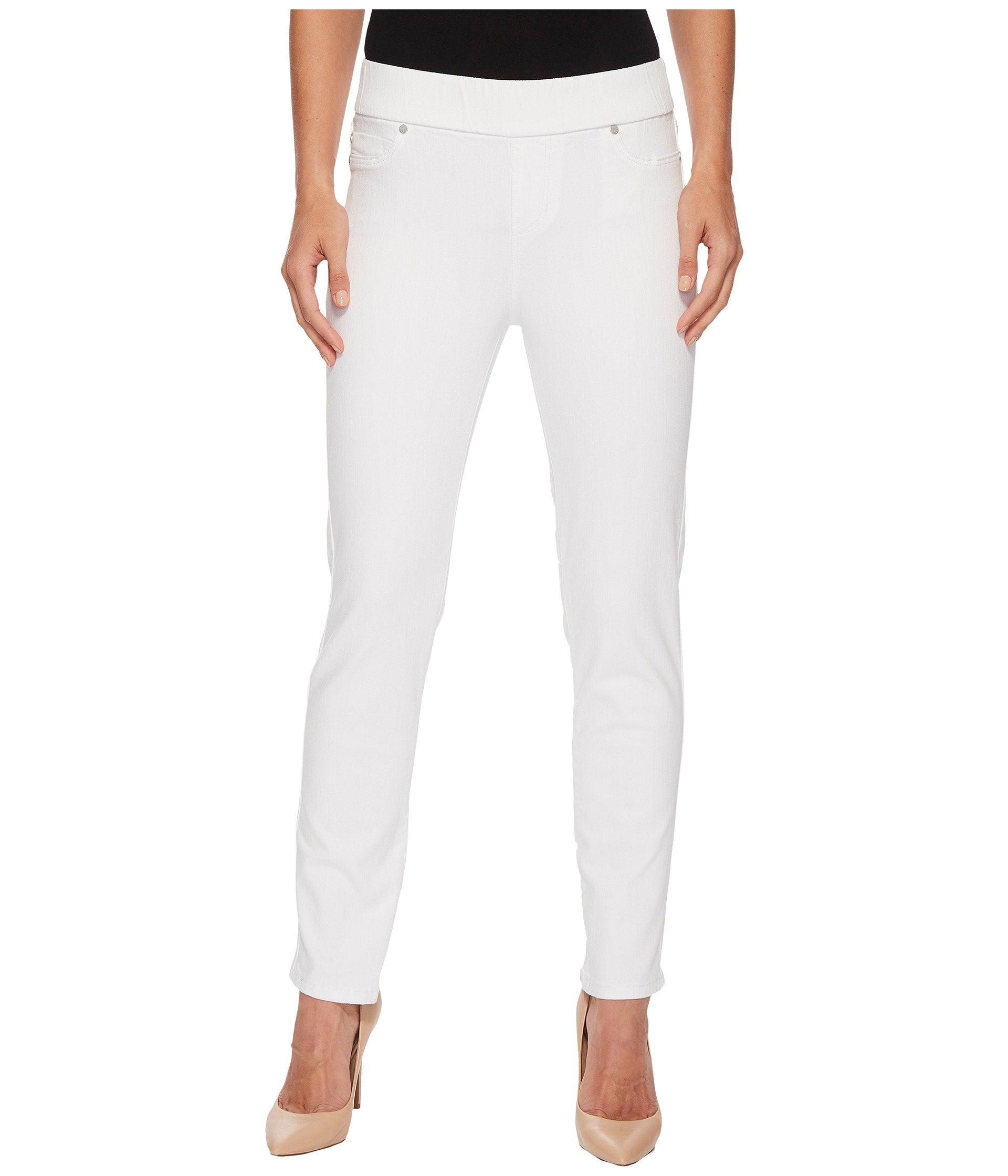 Meredith Ankle Pull-On Slim in Slub Stretch Twill in Bright White