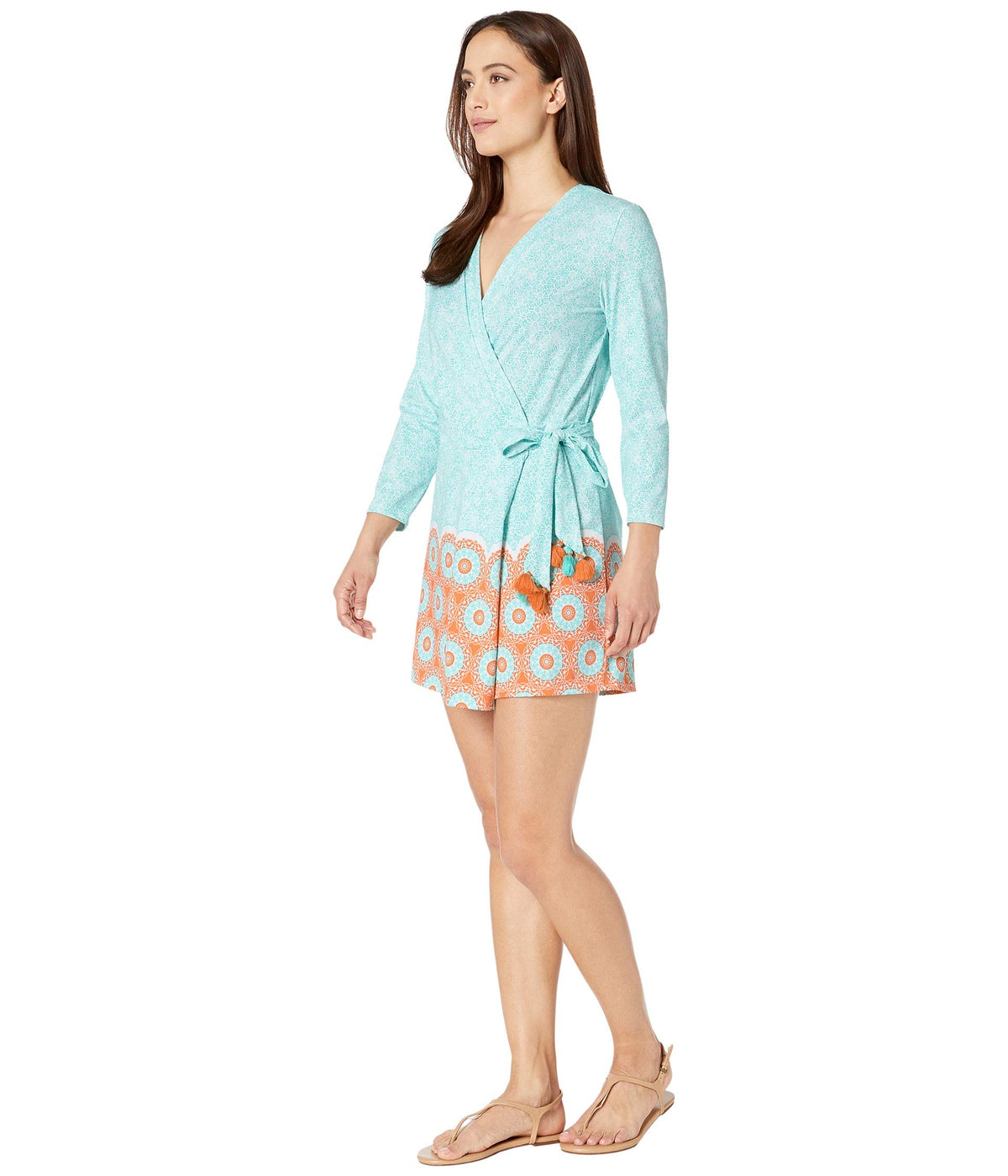 Aqua Citrus Tassel Wrap Romper Cover-Up
