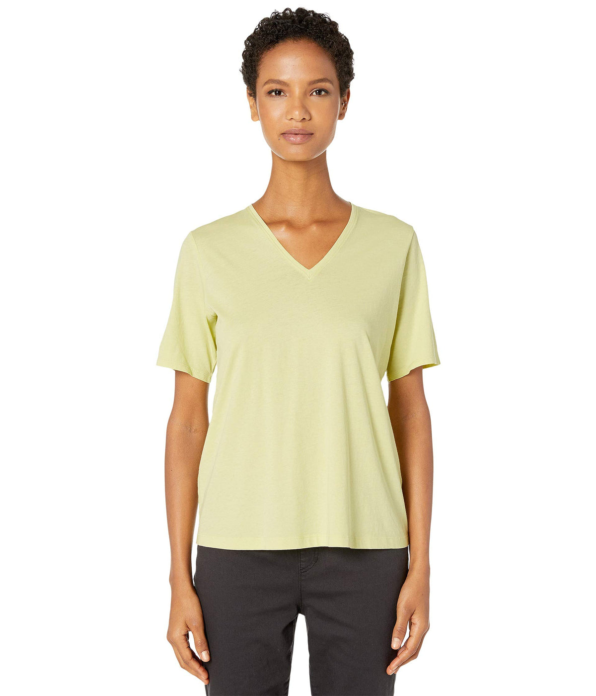 Organic Cotton Jersey V-Neck Short Sleeve Top