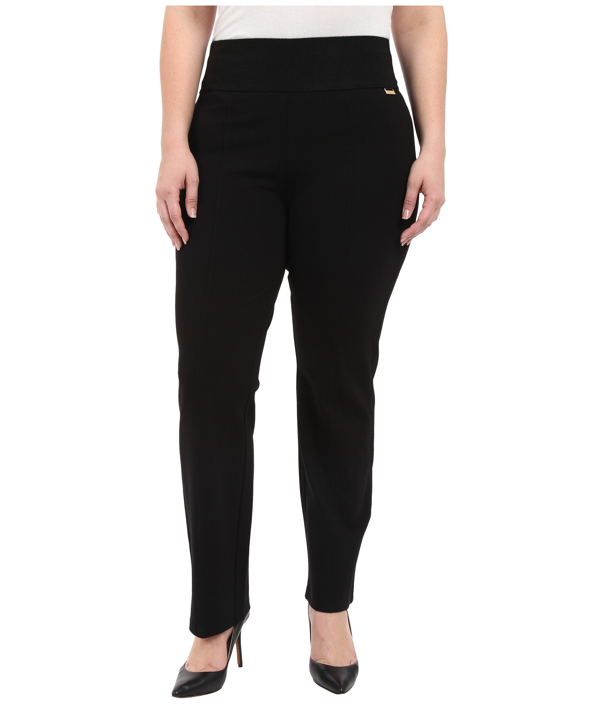 Plus Size Wide Waist Straight Pants