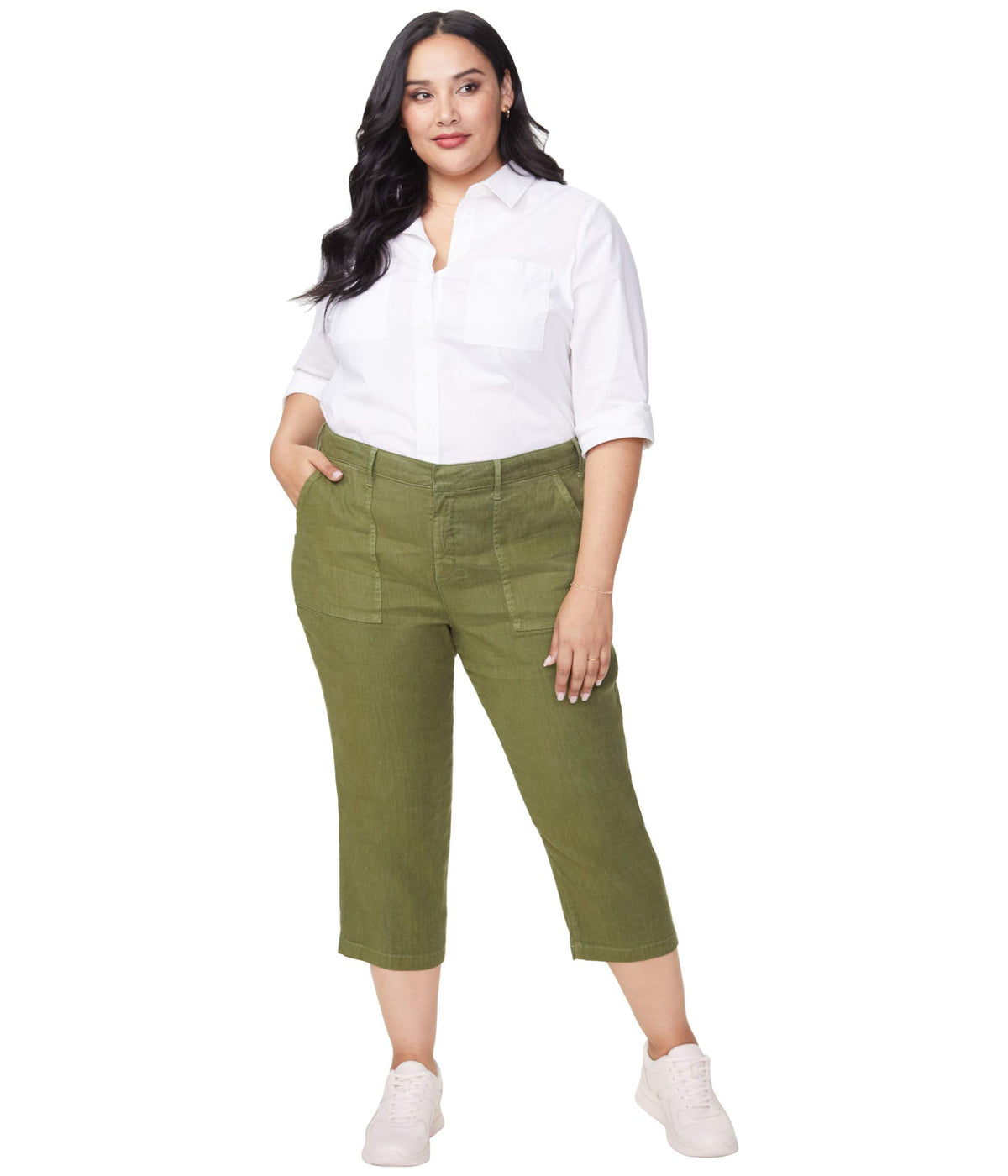 Plus Size Utility Pants in Stretch Linen in Olivine