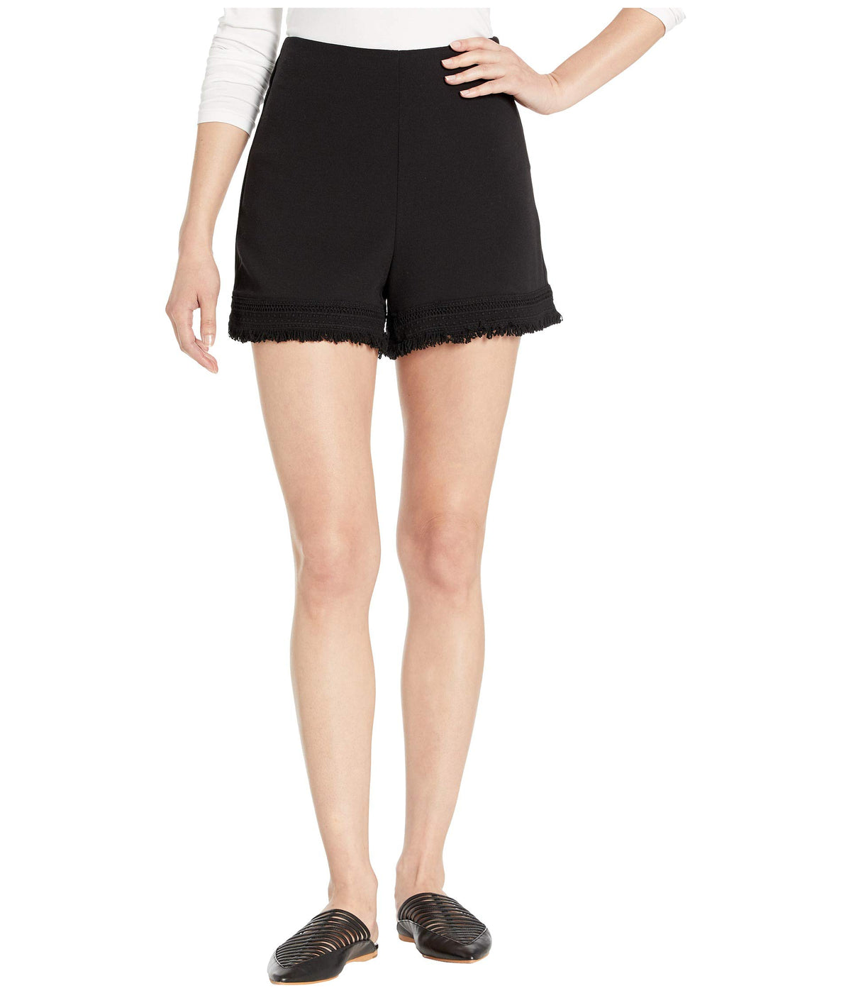 Figaro Textured Shorts with Fringe Trim
