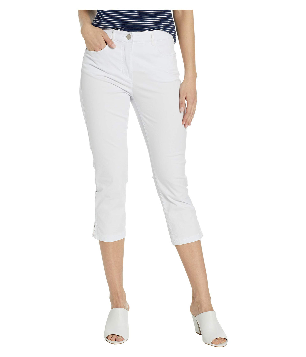 Stretch Mini Twill Fly Front Capris
