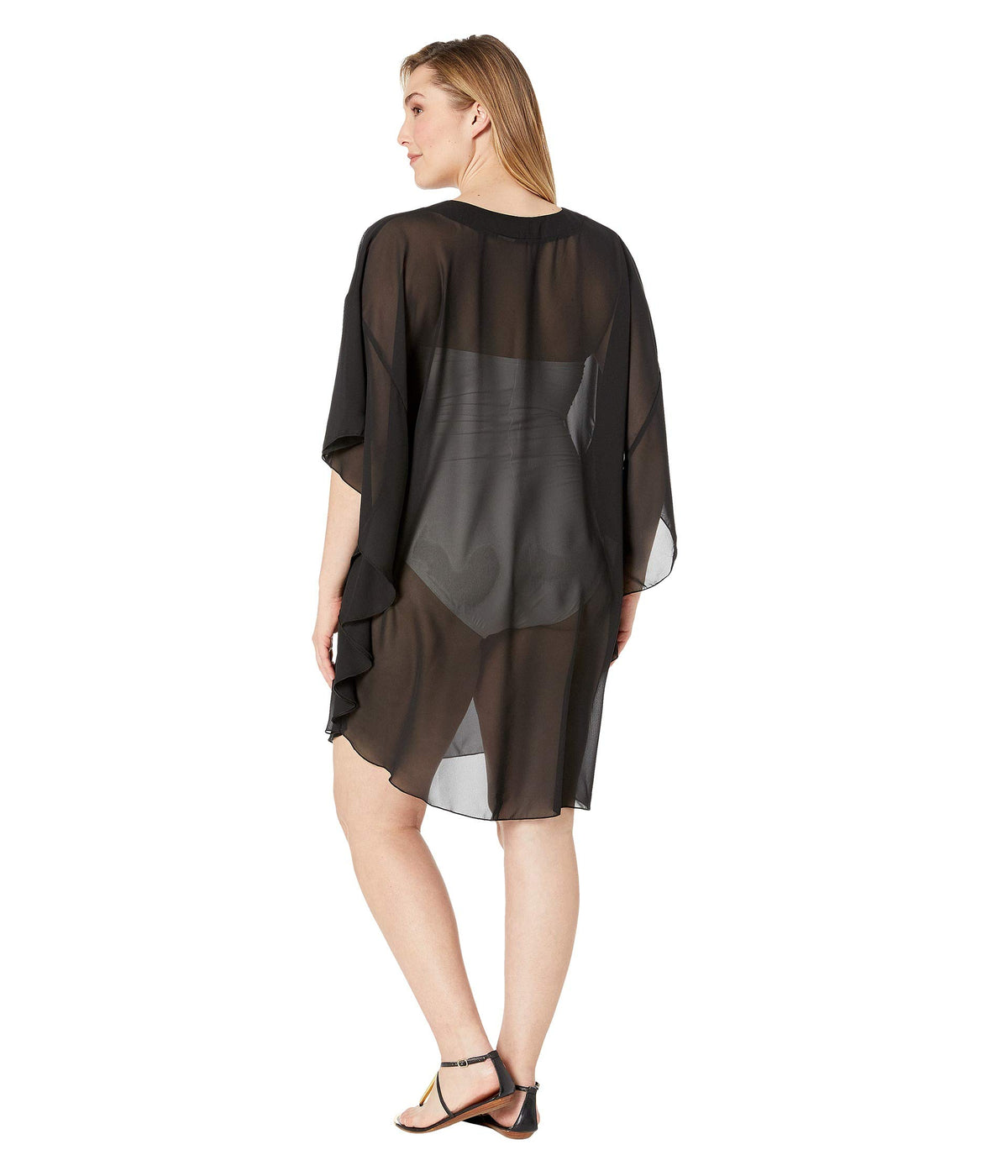 Plus Size Solid Chiffon Caftan Cover-Up