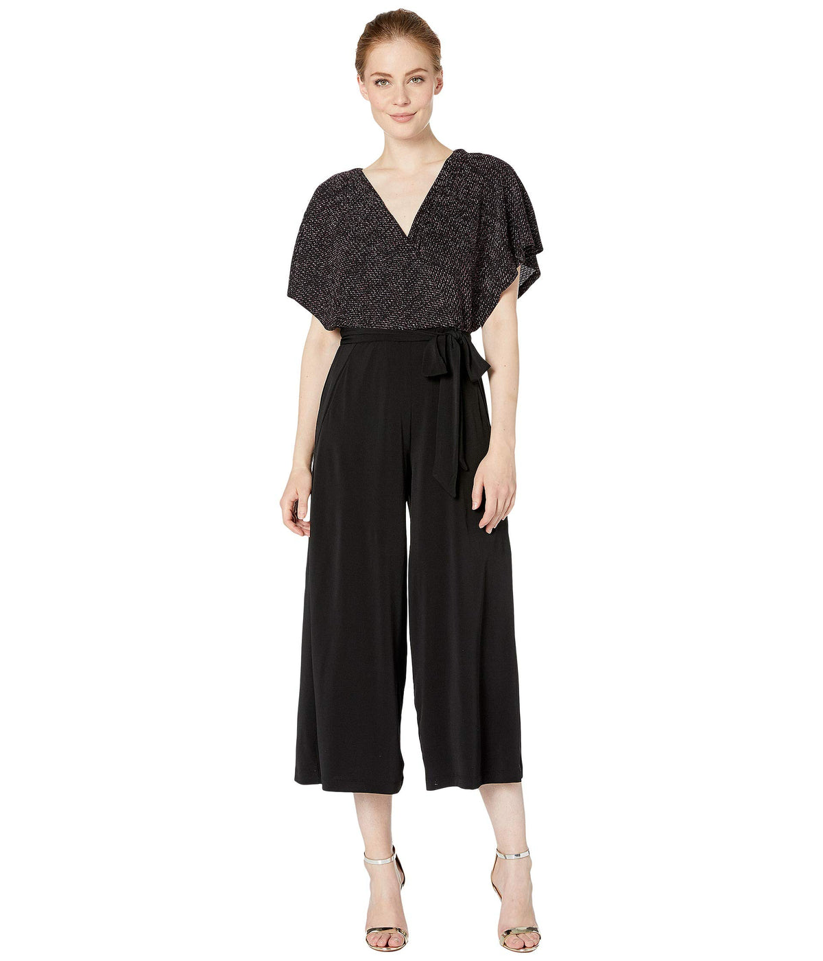 Faux Wrap Top Gaucho Jumpsuit