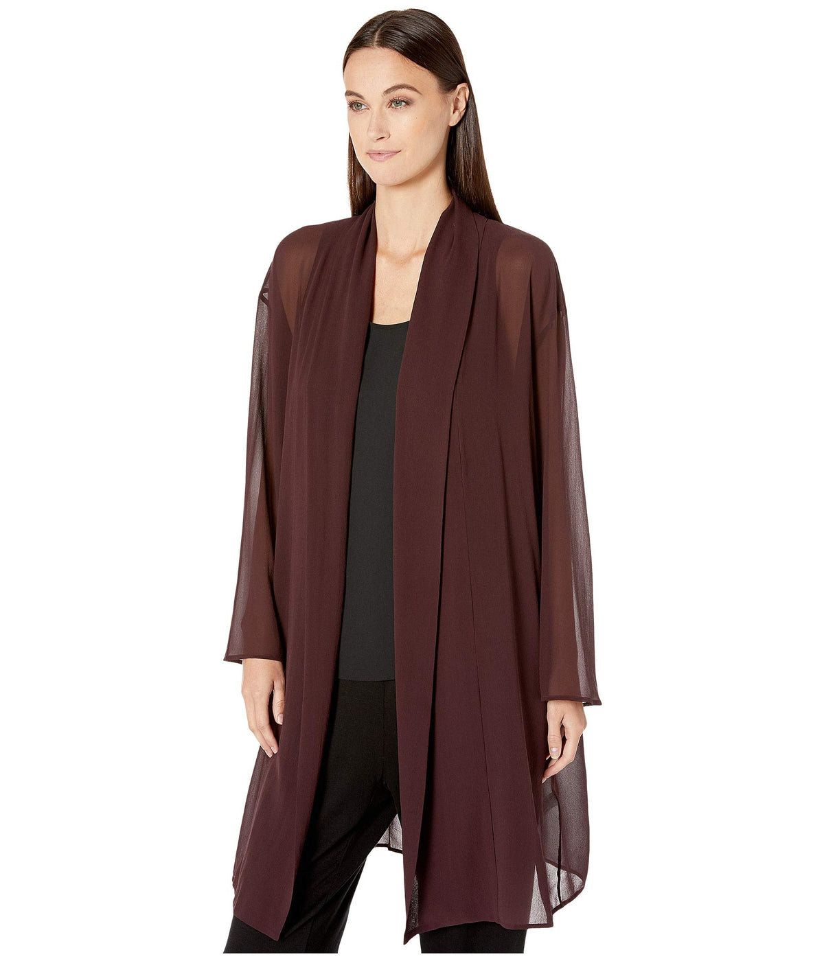 Sheer Silk Georgette Kimono Knee Length Jacket