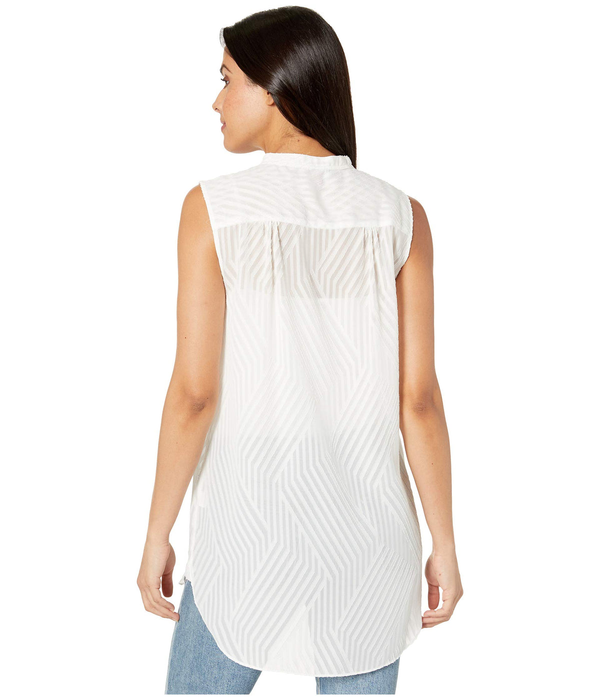 Sleeveless Blocked Stripe Jacquard Henley Tunic