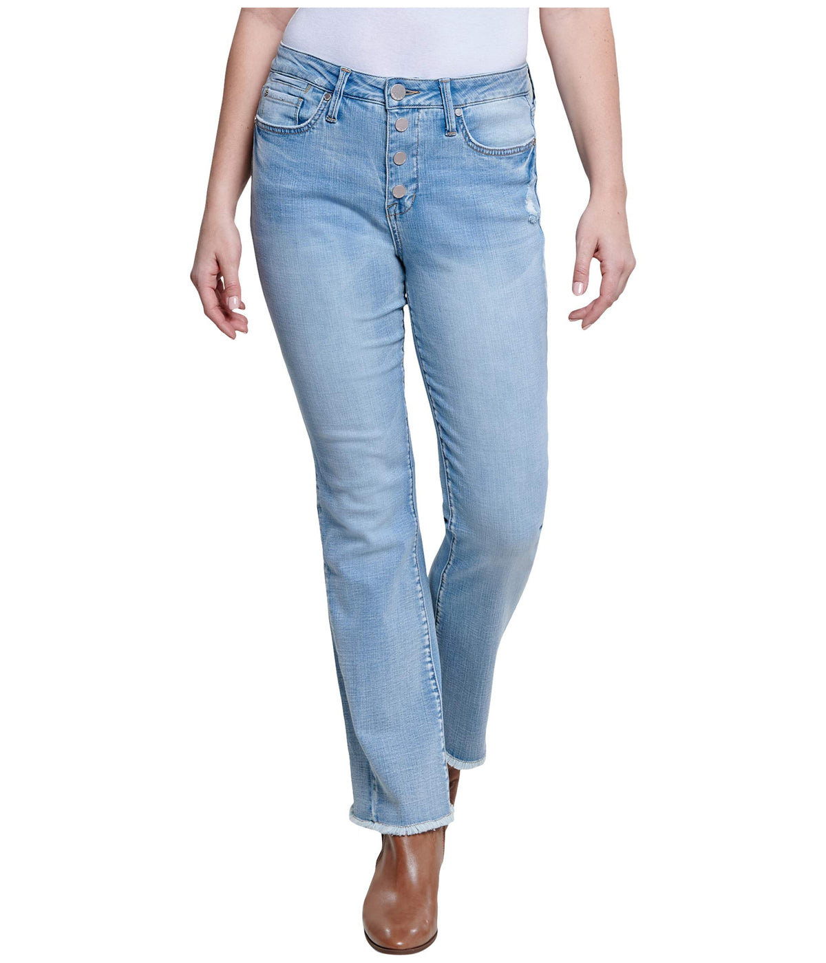 High-Rise Flip-Flop Flare Jeans in Blue Skies