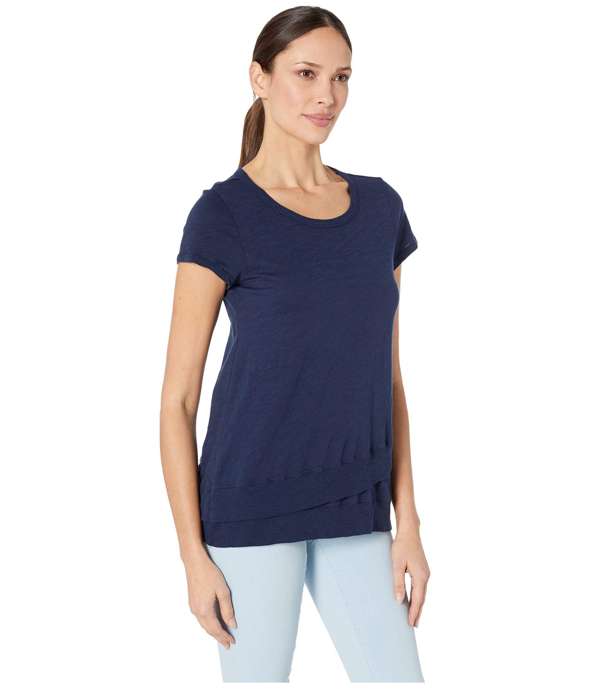 Short Sleeve Asymmetrical Rib Hem Tee in Slub Jersey