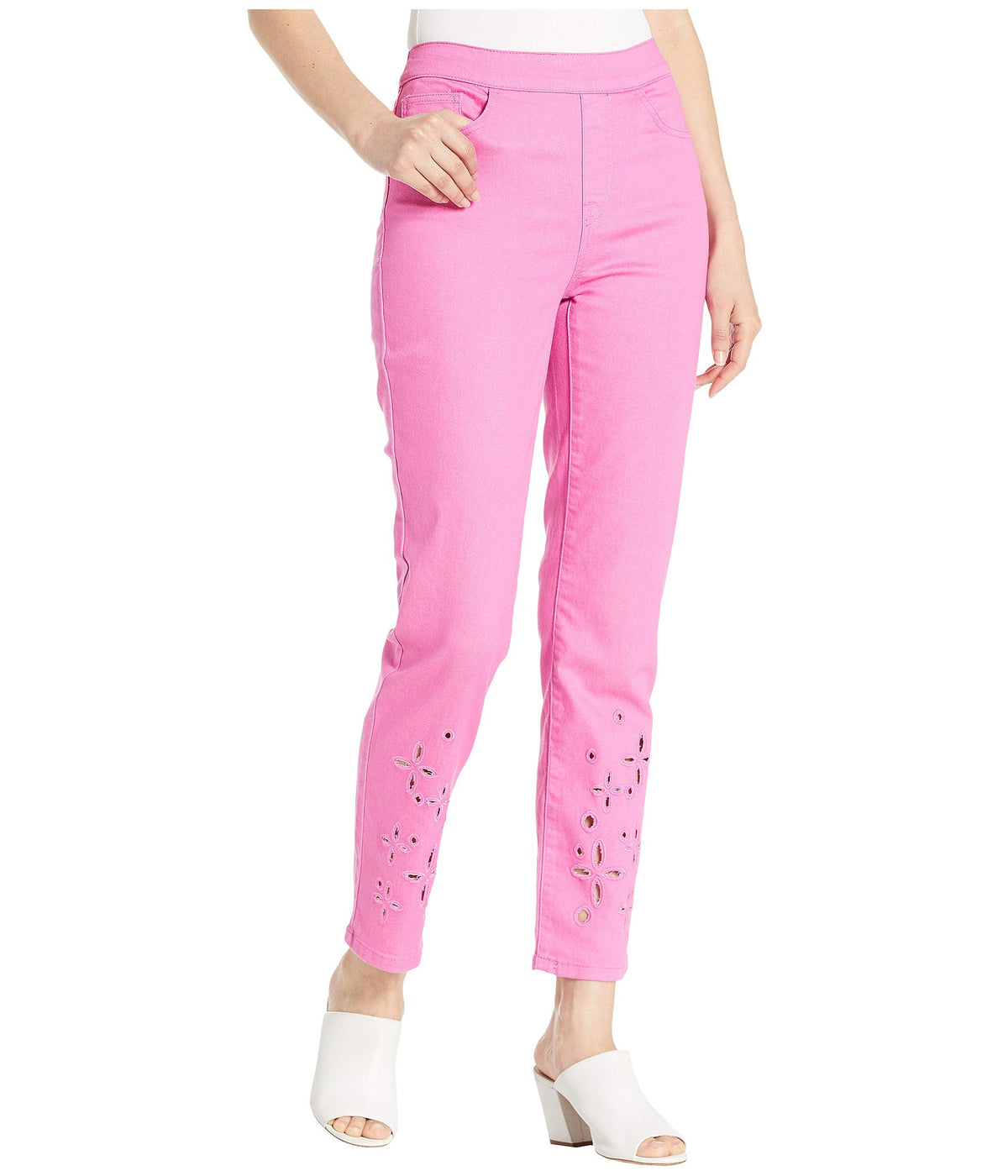 Pull-On Ankle Pants with Embroidery