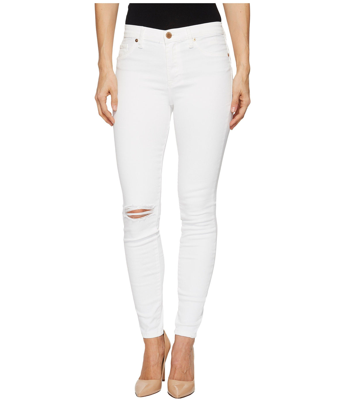 Mid-Rise Distressed Skinny in Great White