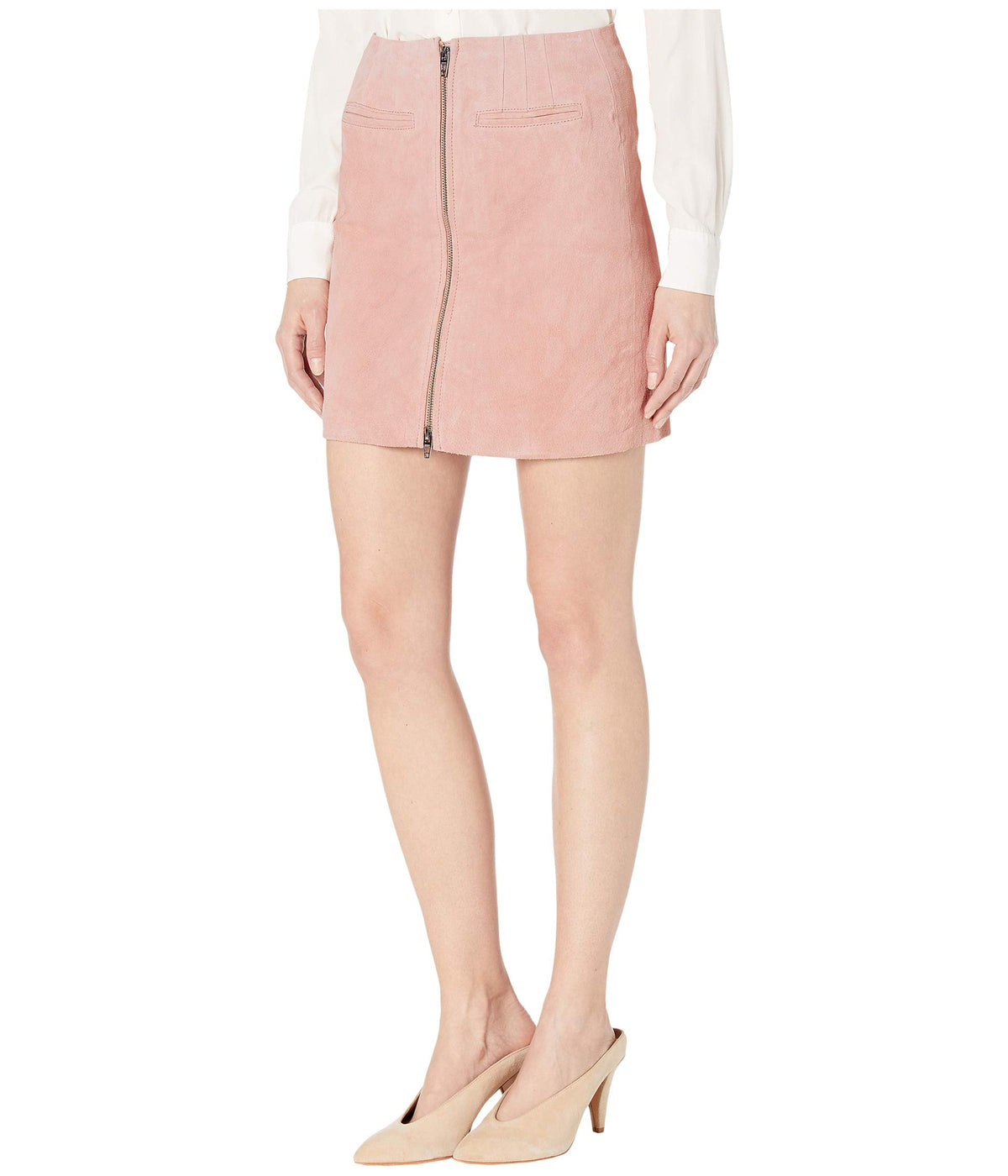 Real Suede Skirt with Zipper Detail in Pink Pearl