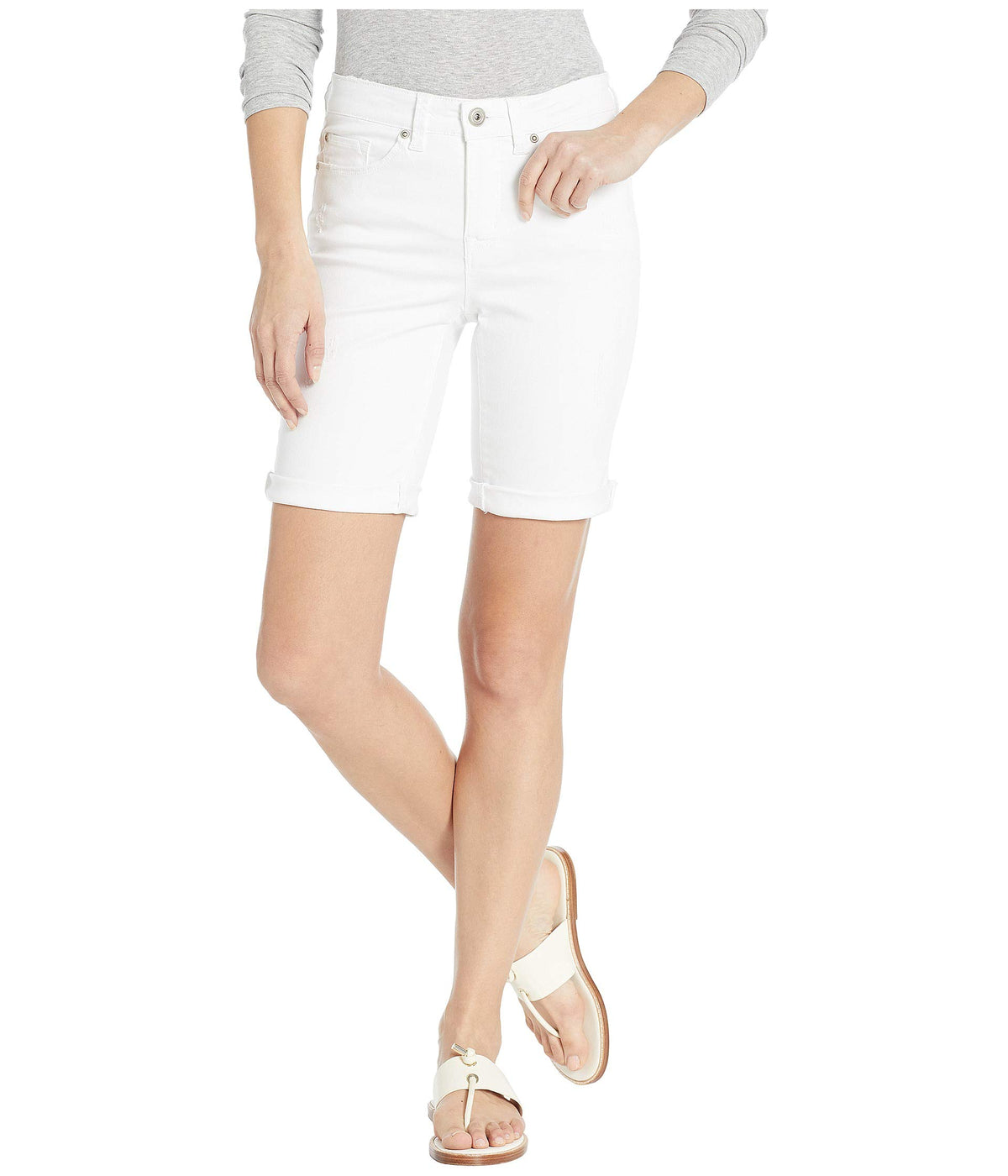 Jeans Denim Distressed Shorts w/ Rolled Cuff in White