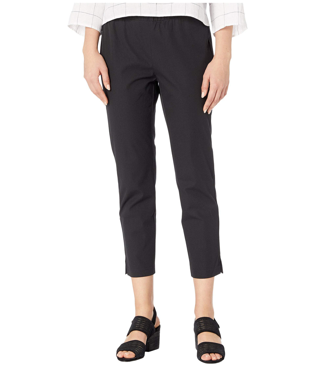 Organic Cotton Stretch Twill Mid-Rise Ankle Pants w/ Slits