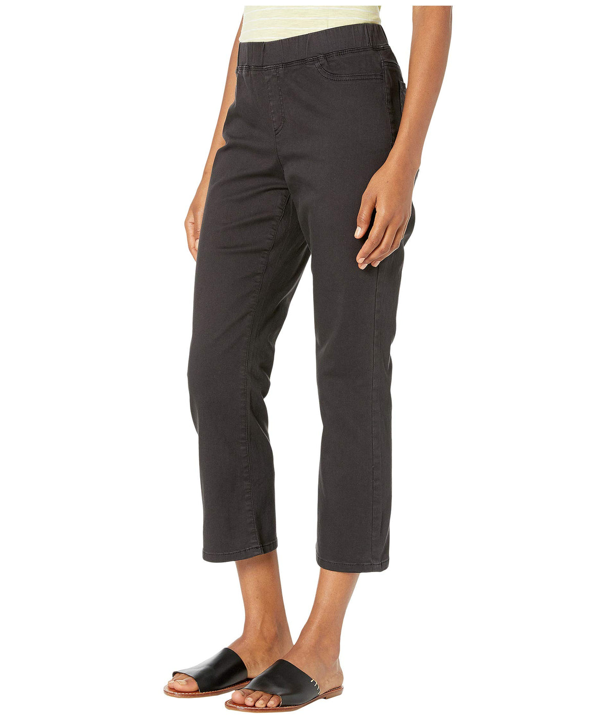Garment Dyed Organic Cotton Stretch Denim Slim Knee Cropped Jeans in Washed Black