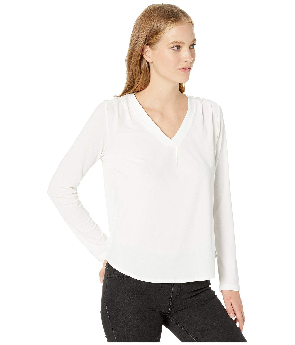 Cambria Crepe Knit Lena Long Sleeve Shirt with Pleats