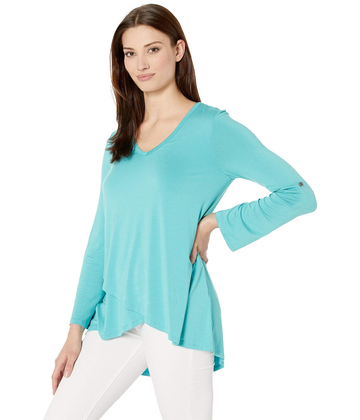 Tab Sleeve Crossover Top