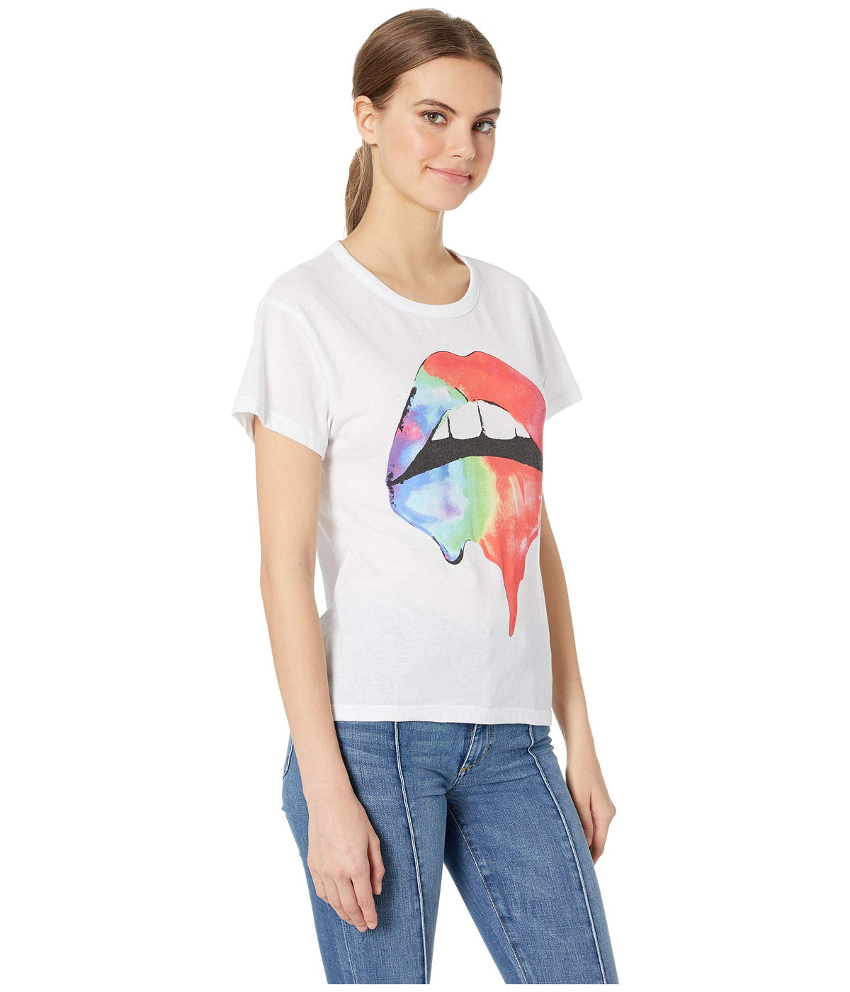 Rainbow Lips Vintage Jersey Classic High-Low Tee