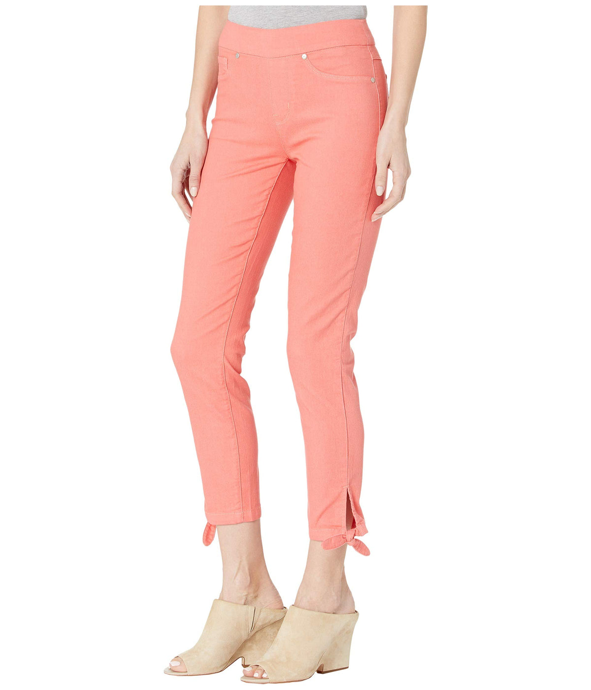 Pull-On Crop w/ Knot Detail in Deep Coral