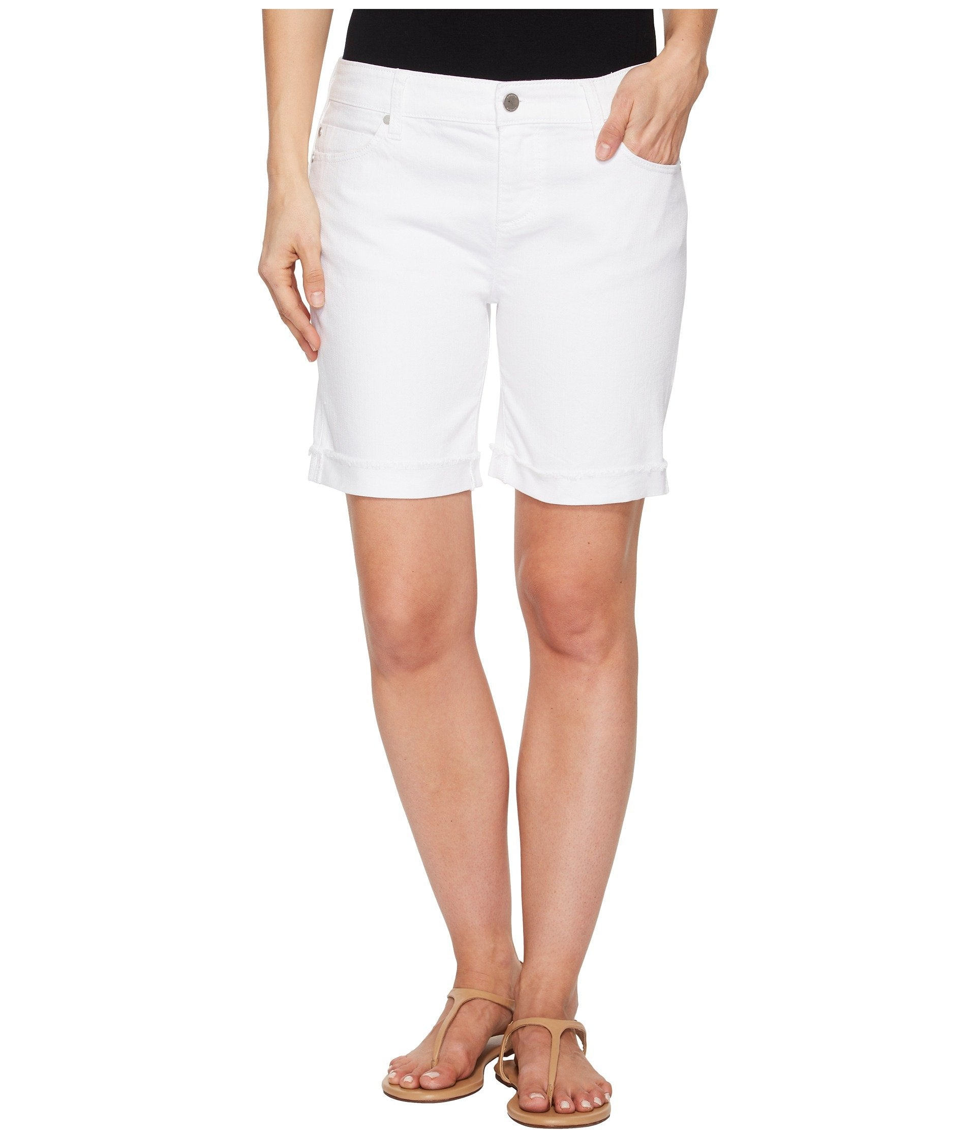 Cassey Shorts in Comfort Stretch Denim in Bright White