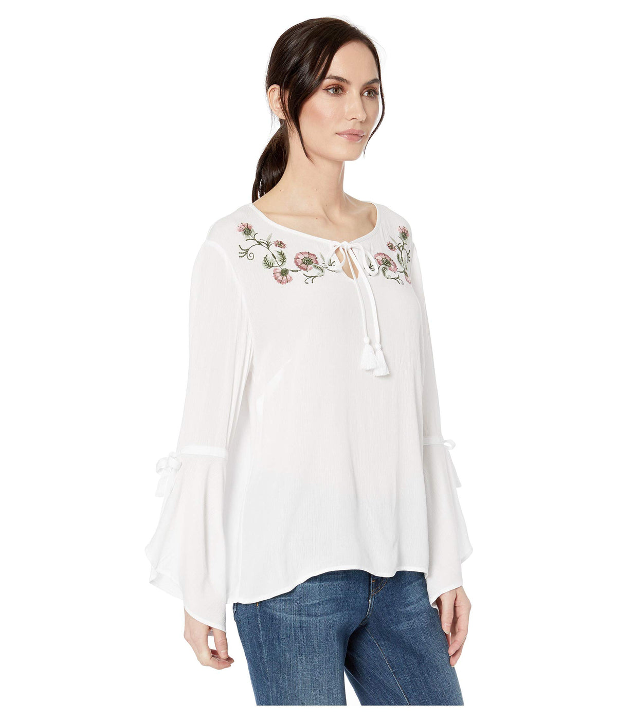 Crinkle Woven Bell Sleeve Embroidered Blouse