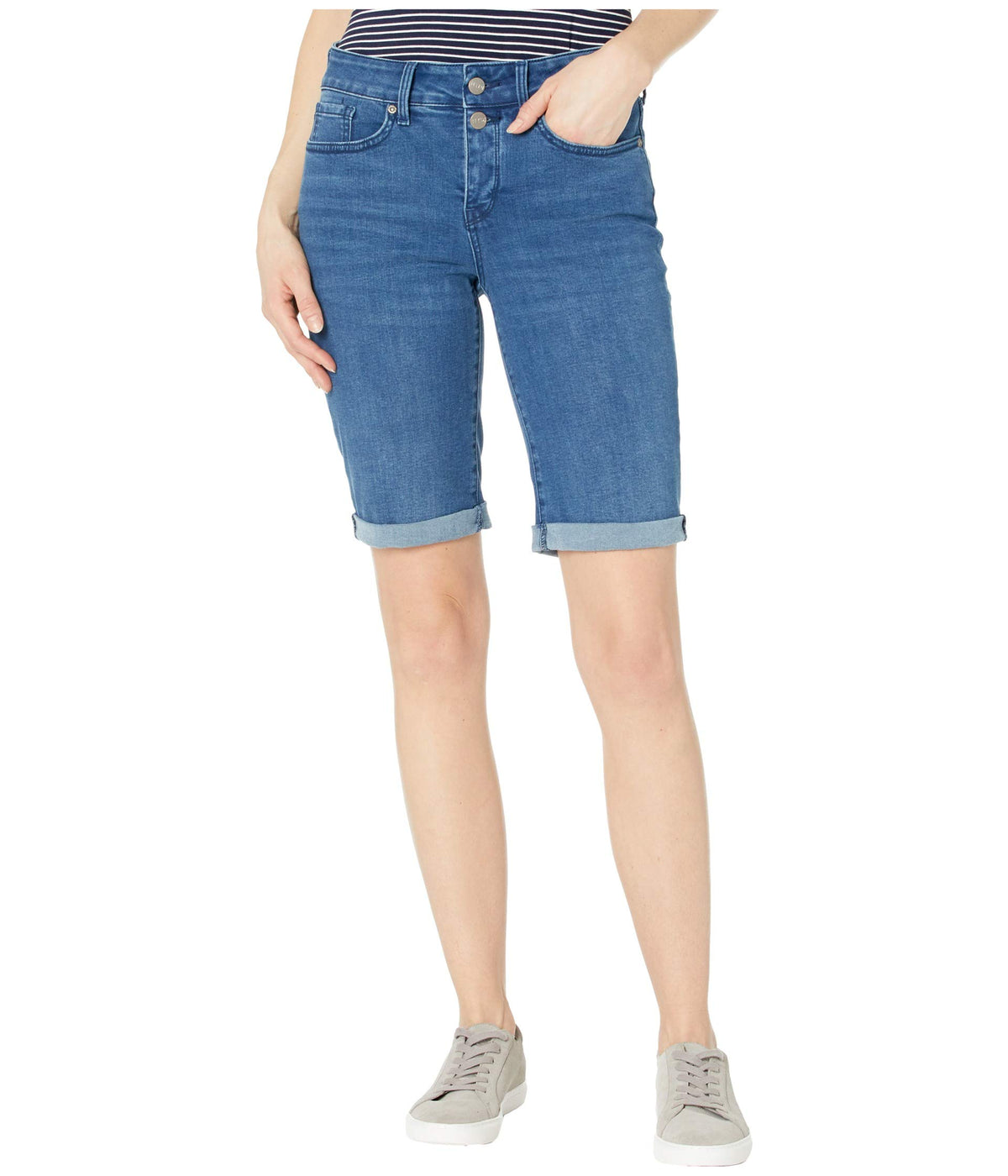 Briella Denim Shorts with Mock Fly and Roll Cuff in Nevin