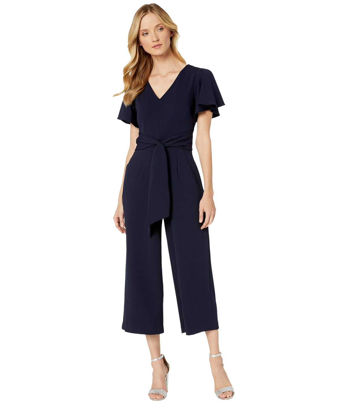 Flutter Sleeve Tie Front Jumpsuit with Cropped Leg